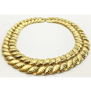 Jewelry - Elegant Vintage Gold Tone Metal Shell Necklace